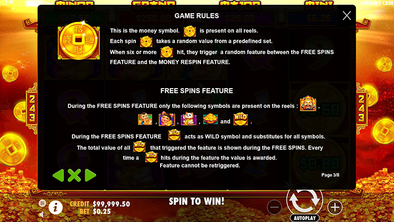 Caishen's Cash trigger free spins