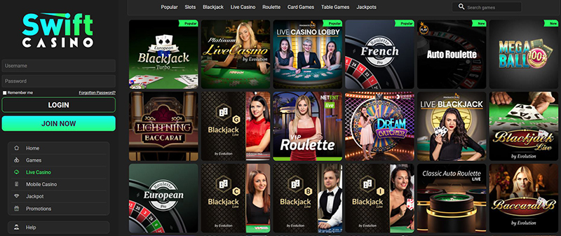 swift casino live casino