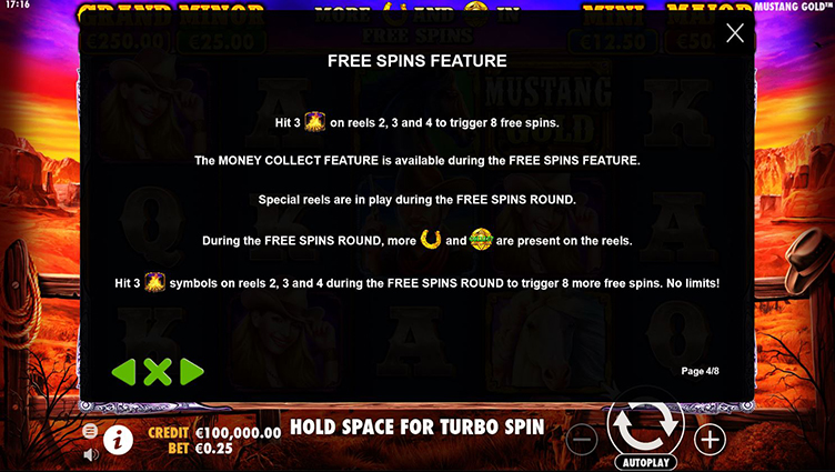 mustang gold free spins feature