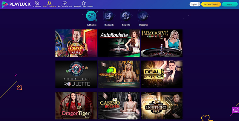 playluck live casino games