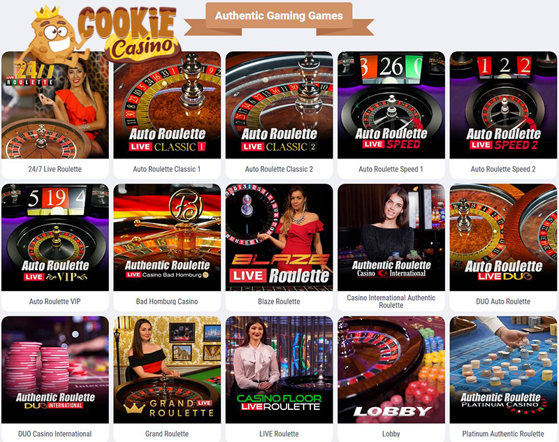 Authentic Gaming live casino CookieCasino