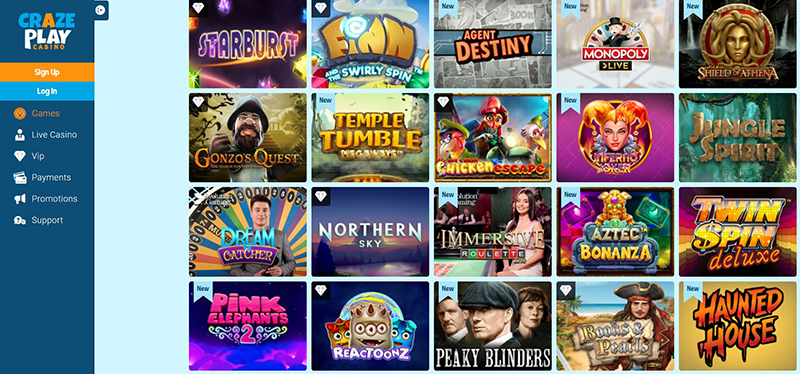 CrazePlay Casino casino games