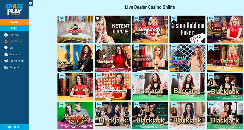 CrazePlay Casino live casino games