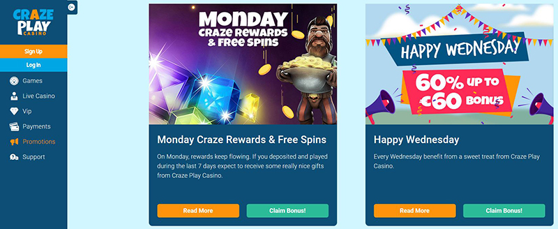 CrazePlay Casino weekly bonuses