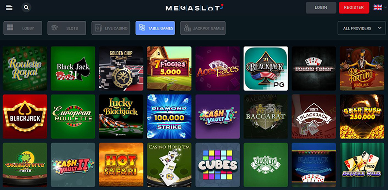 Megaslot Casino table games