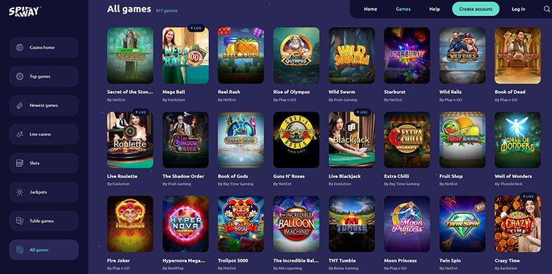 SpinAway Casino all games