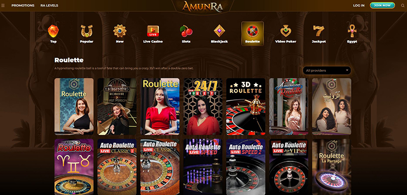 AmunRa roulette games