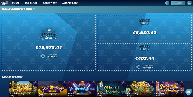 SuperNopea daily jackpot drops