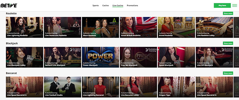Betive live casino games