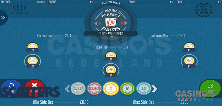 Online blackjack perfect pairs bets