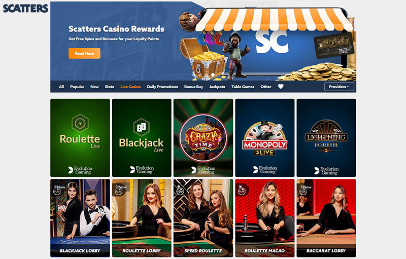 Scatters Casino live casino games
