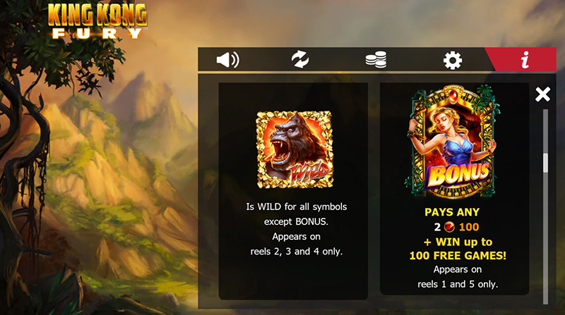King Kong Fury wilds and scatters symbols