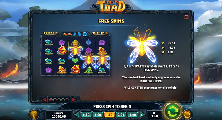 Fire Toad free spins symbols