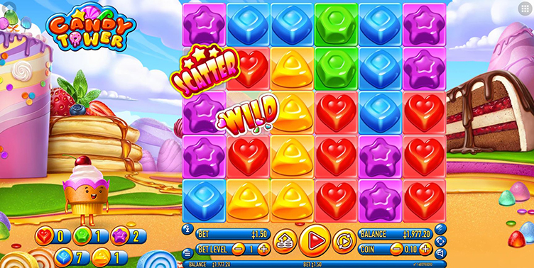 Candy Tower videoslot wild scatter